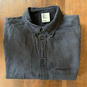 H&M dark denim button-down shirt